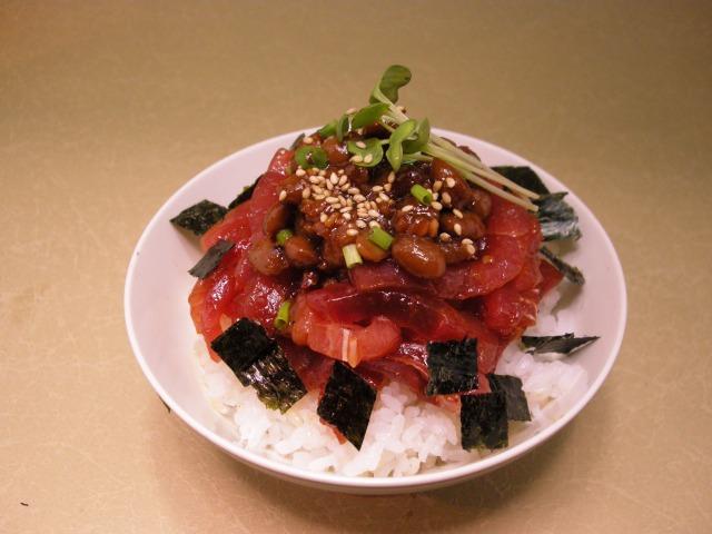 スタミナ水戸納豆とマグロのユッケ丼