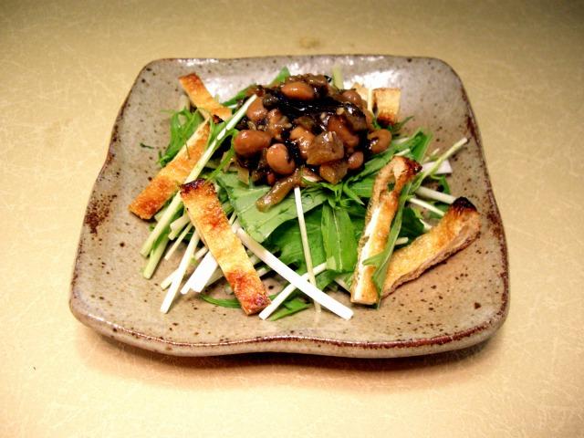 野沢菜水戸納豆と水菜・油揚げのサラダ